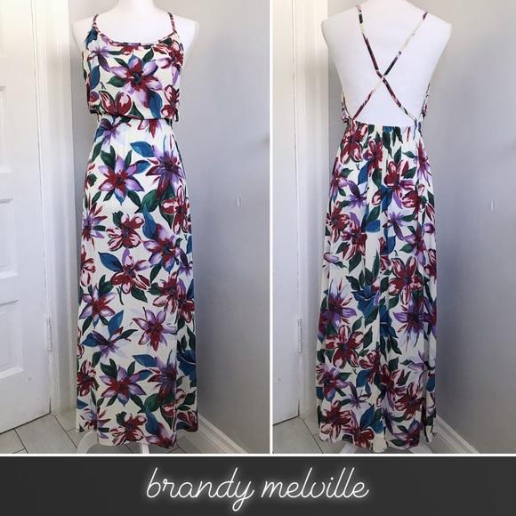 Brandy Melville Dresses & Skirts - Brandy Melville Tropical Floral Crisscross Maxi